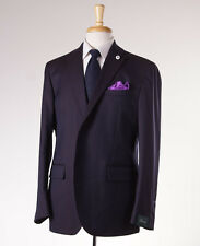 NWT $1375 BRANDO (L.B.M. 1911) Navy-Brown Herringbone Wool-Silk Suit 36 R (Eu46)