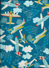 New Planes and Helicopters on Dark Blue 100% Cotton Flannel Fabric by the Yard
