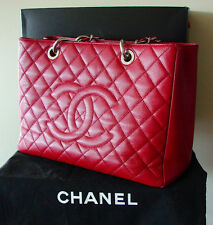 CHANEL 13C Grand Shopping Tote GST ROUGE Red Caviar Leather Box Dust Cover MPRS