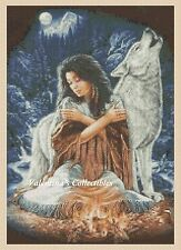 Cross Stitch NATIVE AMERICAN GIRL and WOL - COMPLETE KIT #32vc-347 (Large Print)