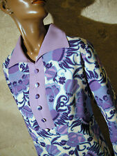 CHIC VINTAGE ROBE 1970 VTG DRESS 70s MOD PSYCHEDELIC KLEID 70er ABITO (42/44)