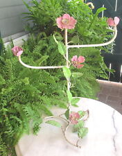 SHABBY PINK  ITALIAN TOLE ROSES JEWELRY STAND OR TOWEL RACK