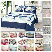 Luxury quilted bedspread/throws with pillowcases double king printed new