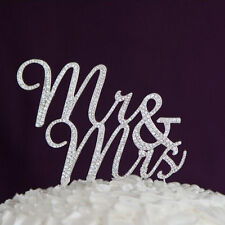 Mr & Mrs Traditional Rhinestone Crystal Diamante Monogram Wedding Cake Topper