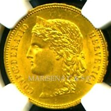 SWITZERLAND 1896 B GOLD COIN 20 FRANCS * NGC CERTIFIED GENUINE MS 62 * GORGEOUS