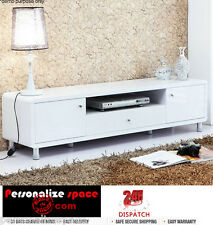 Modern White High Gloss TV Stand Two Door, Single Drawer, Six Leg TV cabinet
