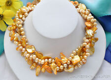 X0078 4strands BAROQUE RICE FRESHWATER tail pearl SHELL necklace 18inch