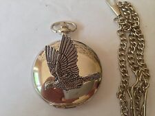 B34 Woodpigeon polished silver case mens GIFT quartz pocket watch fob