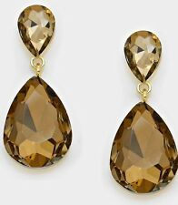 "1.75"" Light Brown Gold Long Rhinestone Crystal Pageant Dangle Earrings Formal"