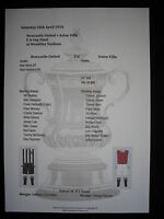 1924 FA Cup Final Newcastle United v Aston Villa Matchsheet