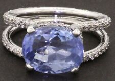 GIA 18k white gold 7.67ct No Heat sapphire and diamond cocktail ring size 7.25