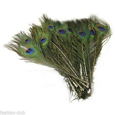 10x Beautiful Peacock Tail Feathers 10-12inch Long For DIY Wedding Decoration