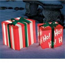 2 Lighted Gift Boxes Bows Striped Ho Outdoor Christmas Holiday Decoration Decor