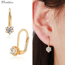 Fashion 18K Gold Filled 6 Claws Faceted Cubic Zirconia Womens Leverback Earrings