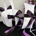 Elegant Purple Satin Bowknot Wedding Ceremony Party Love Case Flower Girl Basket