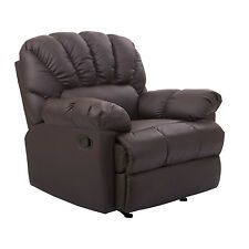 New HomCom  Reclining Chair Leather Rocking Sofa Couch Living Room Brown