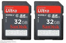 Lot 2 x 32GB = 64GB SanDisk Ultra SDHC SD C10 Memory Card Ref for GoPro Hero 2