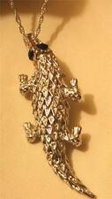 Handsome Raised Texture Silvertn Crocodile Alligator Pendant Necklace Brooch Pin