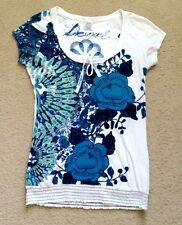 Desigual Women Rhinestone Blue Green Retro Printed Smocked  White Blouse Top S