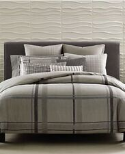 Hotel Collection Modern Plaid King Duvet Cover taupe grey  new in package $330