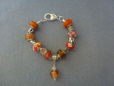*Handmade Luxury Orange Chunky Glass Lampwork Beaded Charm Bracelet- Great Gift*