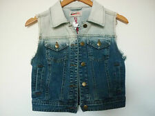 """FRENCH STAR"" BLUE GRADIENT SHORT DENIM VEST - SIZE 8 - NWT -  RRP $69.95"