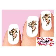 Waterslide Nail Decals Set of 20 - Victorian Angel Cherub Wings & Flowers
