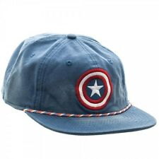 MARVEL COMICS CAPTAIN AMERICA LOGO WASHED UNSTRUCTURED 6 PANEL SNAPBACK HAT CAP