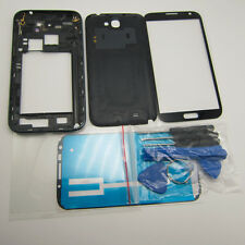 Black white case middle frame battery cover screen glass for galaxy note 2 n7100
