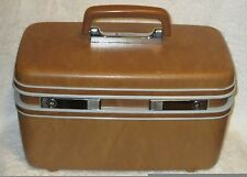 Vintage Samsonite Brown Hard Shell Cosmetic Train Carry On Luggage Case