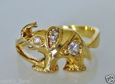 Beautiful 14ct Gold Cz & White Sapphire Elephant Ring Size J