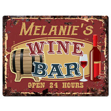 PWWB0188 MELANIE'S WINE BAR OPEN 24Hr Rustic Tin Chic Sign Home Decor Gift