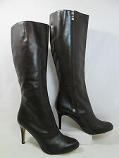 Halogen OLIVIA Leather Stiletto Knee High Fashion Boots Brown Sz 10-M  Display