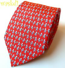 SALVATORE FERRAGAMO red TEDDY BEARS playing SOCCER silk MENS tie NWT Authentic!