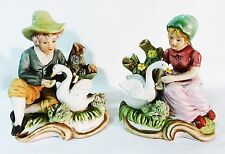 figuring hand painted ceramic boy and girl feeding swans lot of two