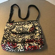 COACH POPPY CROSSBODY BAG SCRIBBLE GRAFFITI PURSE RED PINK BLACK WHITE FLORAL