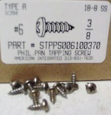 #6x3/8 Pan Head Phillips Tapping Screws Stainless Steel (75)