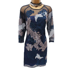 KAREN MILLEN NAVY ORIENTAL MESH FLORAL EMBROIDERED COCKTAIL SHIFT TUNIC DRESS 12