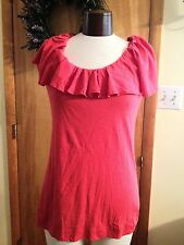 OGLE ANTHROPOLOGIE RED / ROUGE WITH RUFFLE COLLAR TOP SIZE LARGE NWT