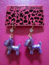 Betsey Johnson Purple Dog Dangle Earrings