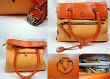 VELINA FABBIANO TWO TONE ORANGE LEATHER  LADIES HANDBAG BRAND NEW