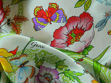 GUCCI MADE IN ITALY AUTHENTIC PURE SILK SATIN  CENTIMETER 200 X 140