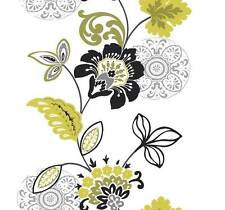 Wallpaper Designer Modern Large Floral Stripe Bright Green Black Silver on White