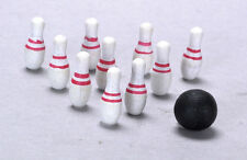 Bowling Ball & 10 Pins, Dolls House Miniature, 1.12 Scale, Skittles,
