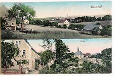 24228 AK Grumbach bei Dresden Kirche Ort Haus 1914