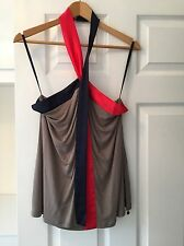 BRAND NEW LADIES 'TEDBAKER' GREY/ PINK/NAVY HALTER NECK TOP. SIZE 10/TEDBAKER 2