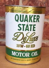 Quaker State DeLuxe 10W 40 HD Motor Oil 32oz Cardboard Can Full Vintage NOS