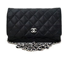 AUTHENTIC CHANEL BLACK WALLET ON CHAIN WOC