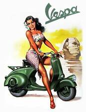 VESPA Vintage Pinup Girl QUALITY CANVAS PRINT Retro Scooter Poster SPHINX
