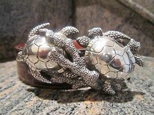 Rare!!! Kieselstein-Cord Sterling Sea Turtle Buckle And Brown Alligator Belt